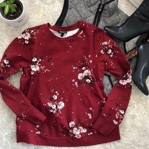 Torrid Floral Burgundy Lightweight Ponte Shirt 0X